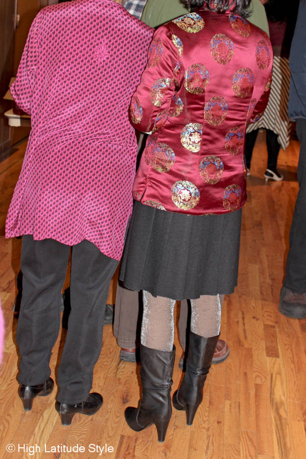 posh midlife woman in Alaska street style outfits at the Chinese New Year's party