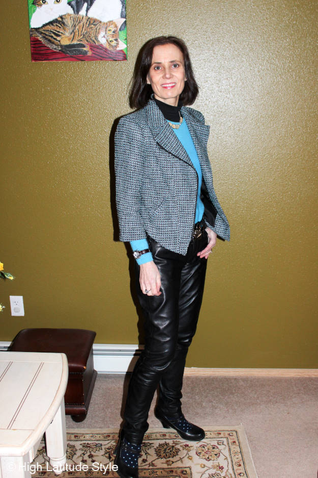 #tfashionover50 woman in tweed motorcycle jacket and leather pants