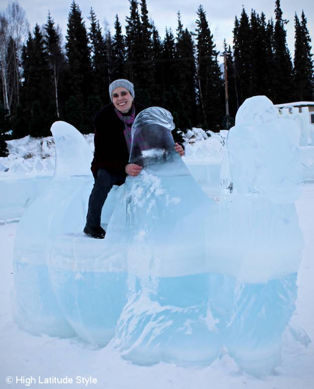 Fairbanks fashion blogger Nicole taking a ride on an ice camel