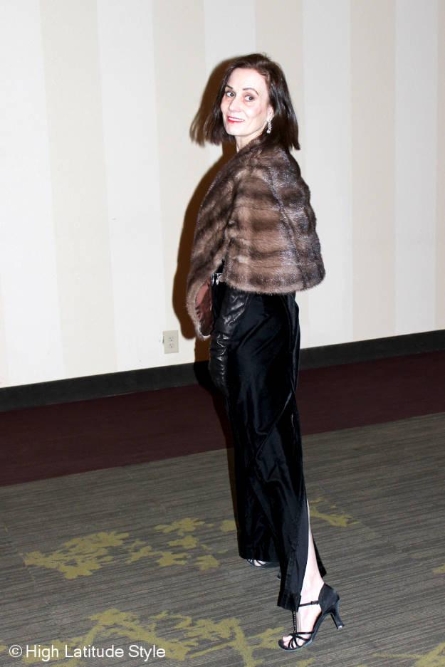 #fashionover50 Nicole of High Latitude Style wearing a black velvet evening dress