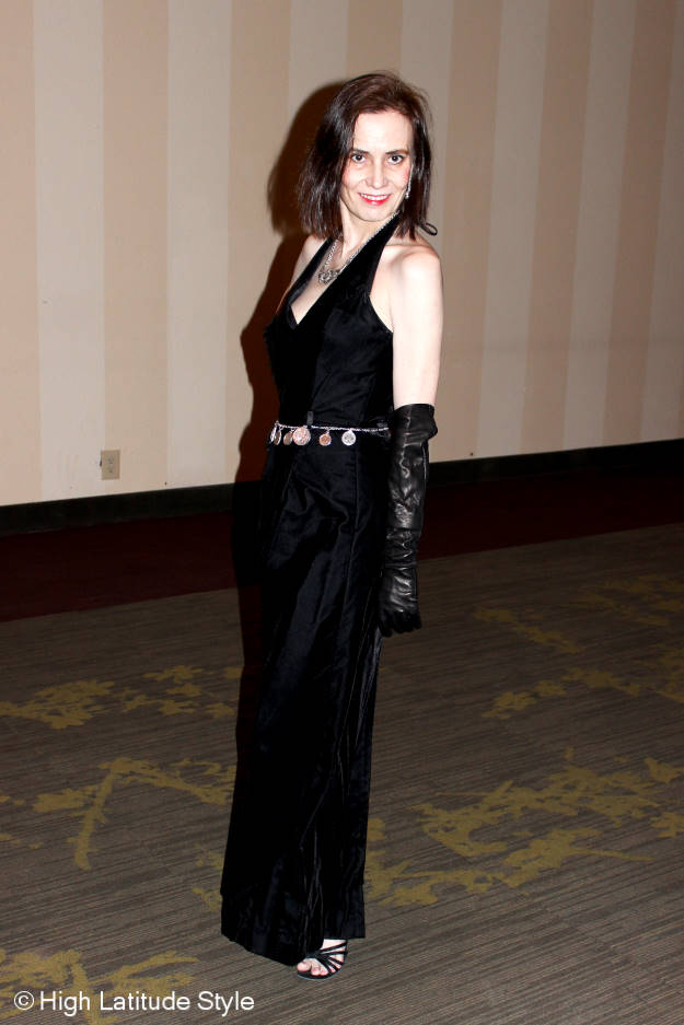 #maturefashion style blogger Nicole in a black velvet ball gown with long leather opera gloves