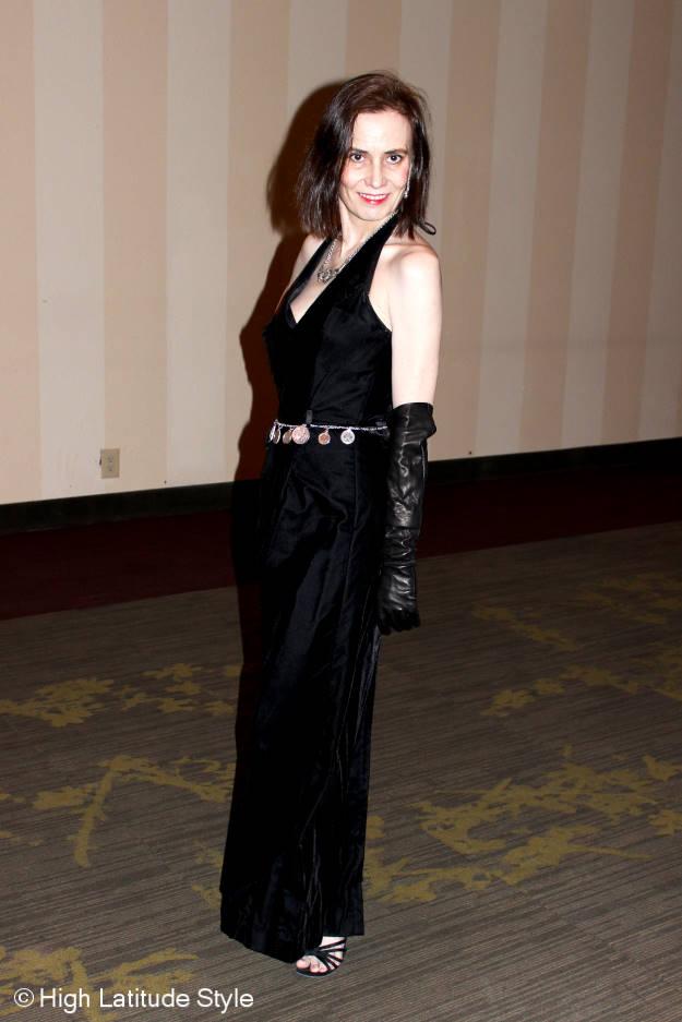 mature fashion blogger in black velvet ball gown