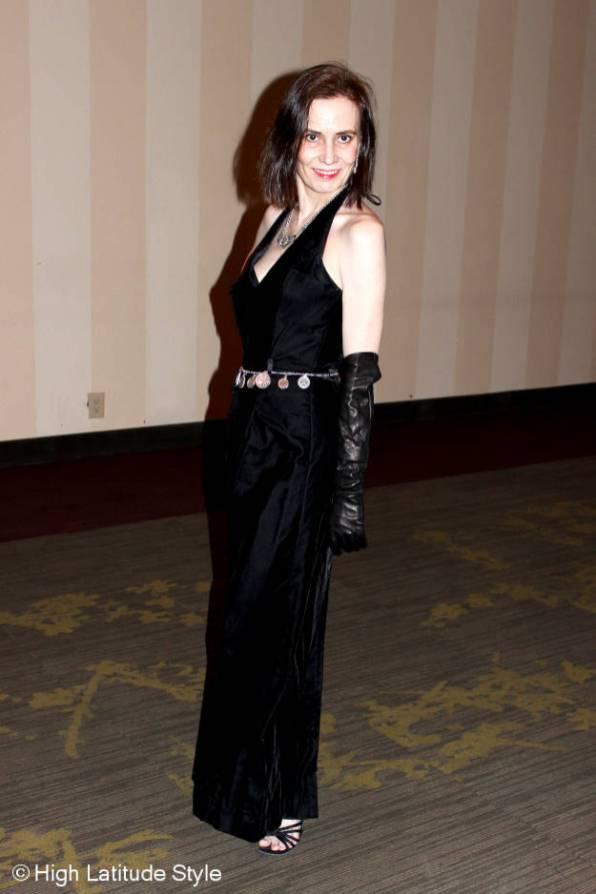 #maturefashion black velvet ball gown @ High Latitude Style @ http://www.highlatitudestyle.com