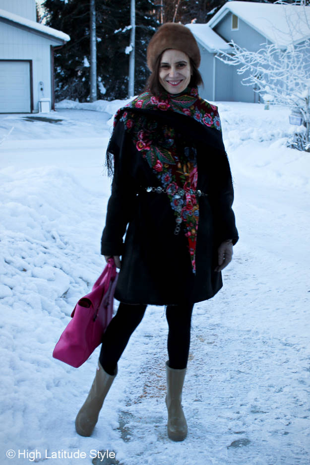#styleoveer40 shearling coat accessorized with a Russian scarf for a different look