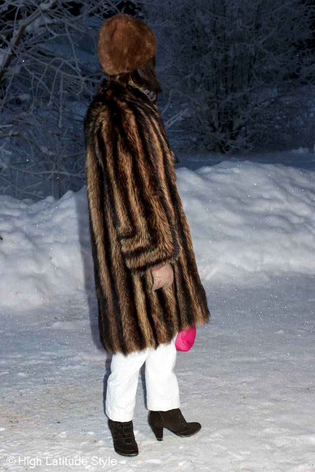 #styleover40 winter outerwear over white trousers