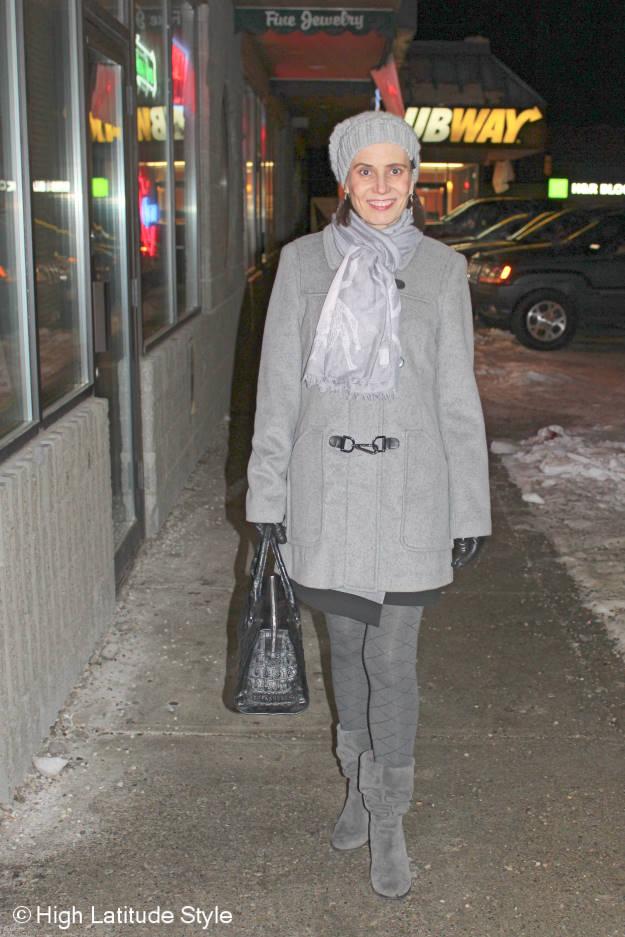 Fashionover40 all gray winter outerwear