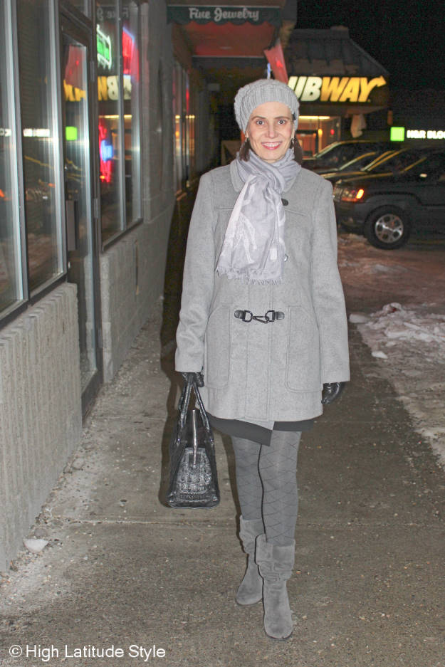 #Fashionover40 all gray styled winter outerwear
