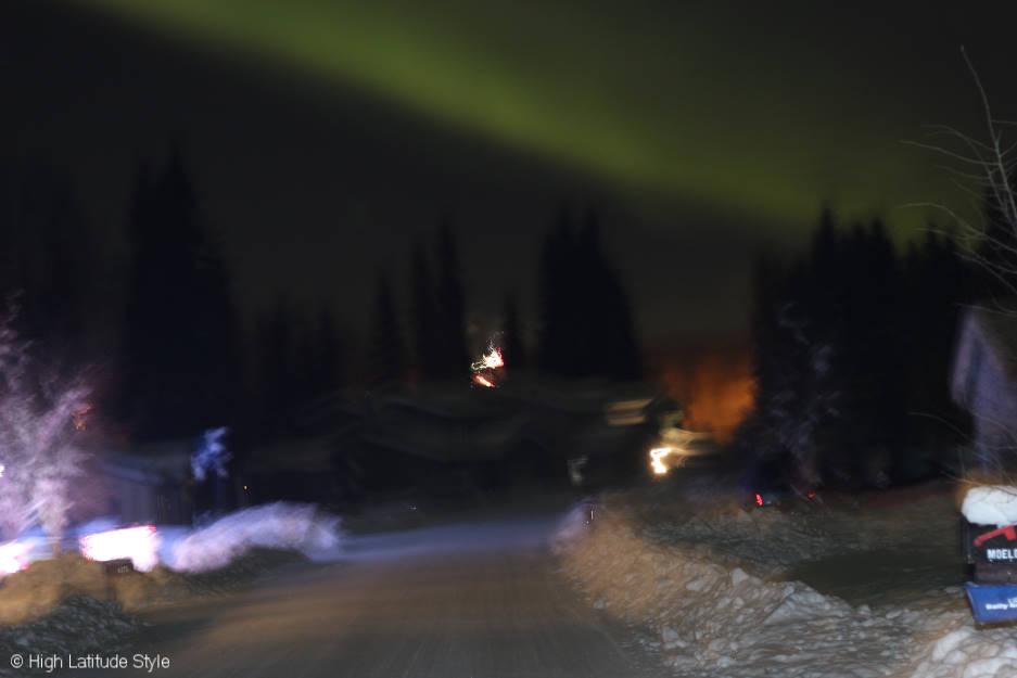 aurora and fireworks in College Alaska