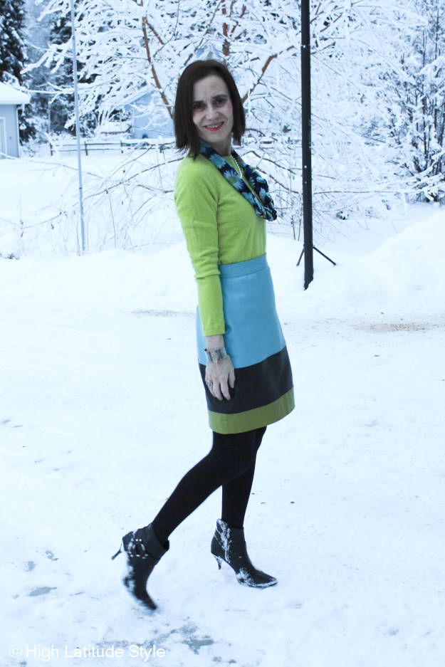 #maturefashion thrifting fashionista in an outfit with thrifted sweater and booties