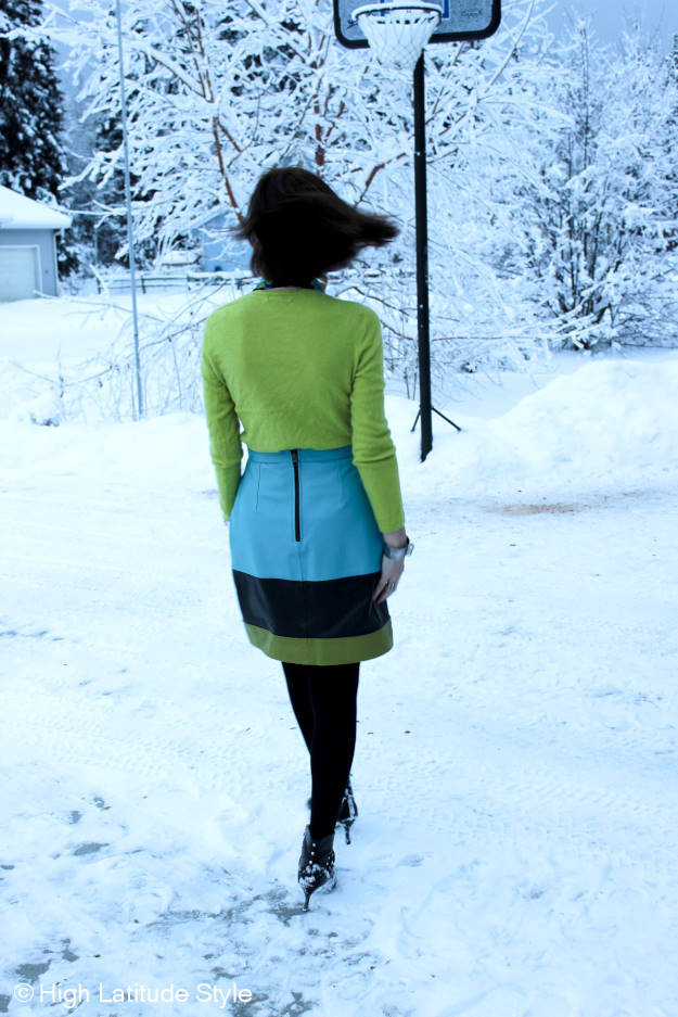 #fashionover50 woman in work outfit with thrifted items