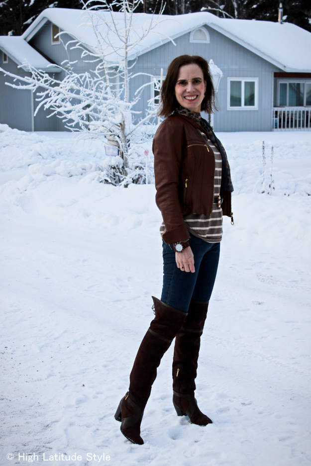 over 50 years old Alaskan blogger in weekend outfit with over-the-knee boots