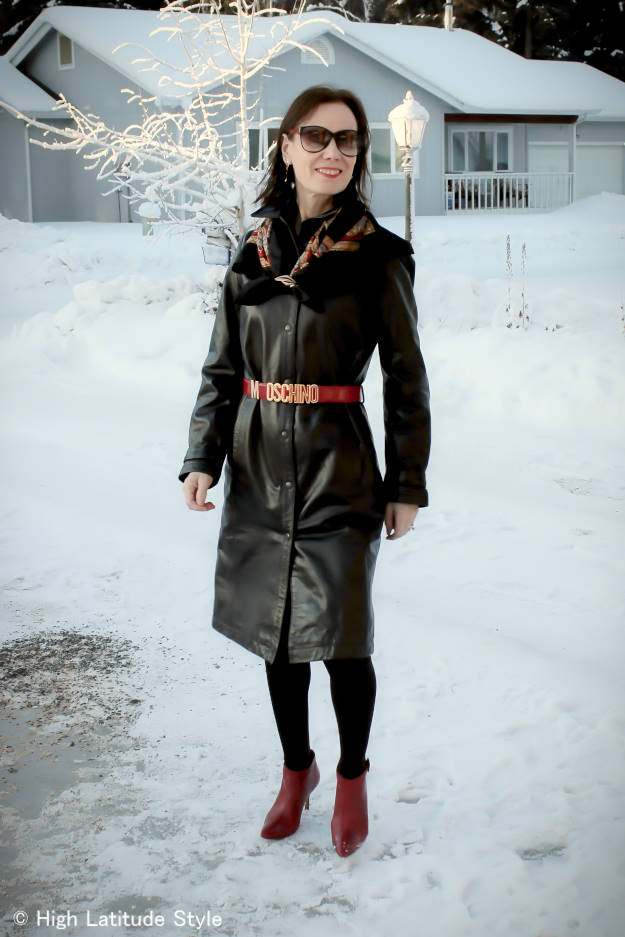 #maturefashion woman in a leather dress styled for work