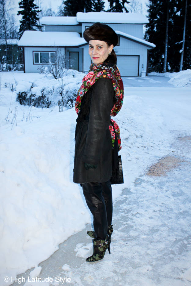 #fashionover50 Winter outerwear with Russian scarf and beret style hat