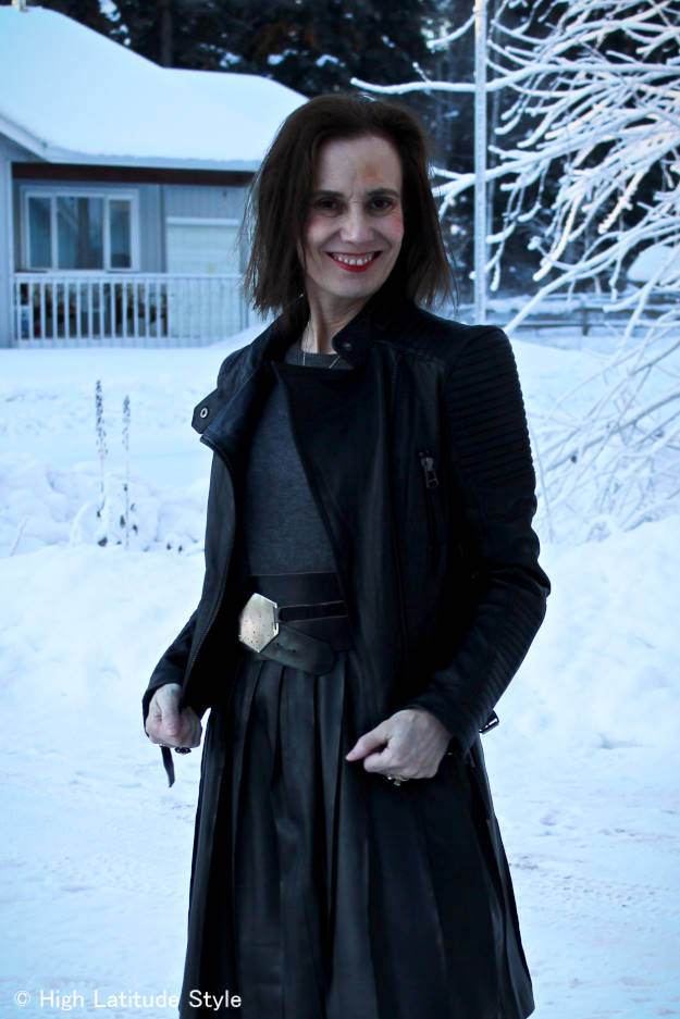 #over40fashion leather jacket with pleated leather skirt at the Top of the World Style linkup party at http://wp.me/p3FTnC-4f5
