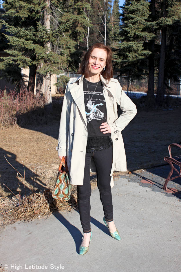 #maturefashion Black denim leggings #Nononsense review at http://www.highlatitudestyle.com