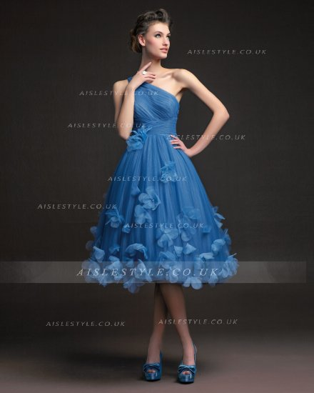 #AisleStyle Simple A-line One Shoulder Ruching Hand Made Flowers Knee-length Tulle Cocktail Dress