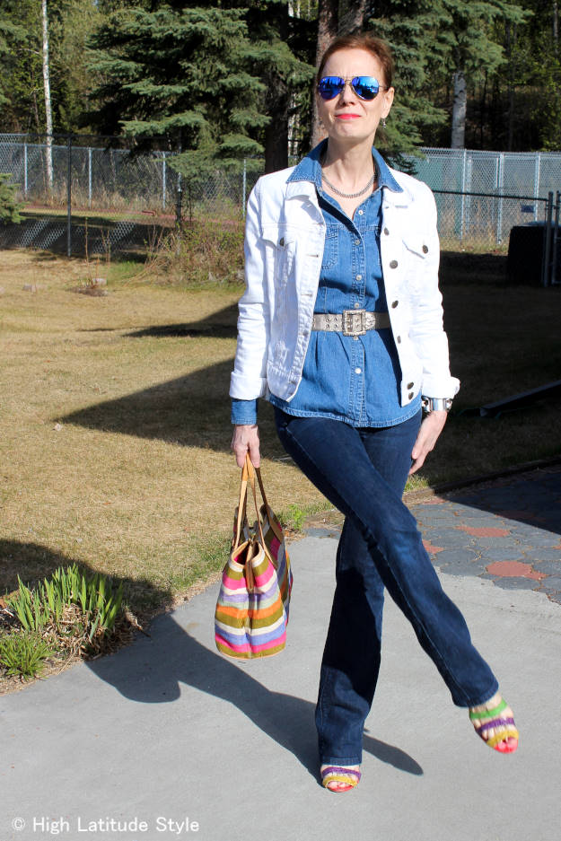 #chicover50 Blogger Nicole donning  Texas tuxedo style
