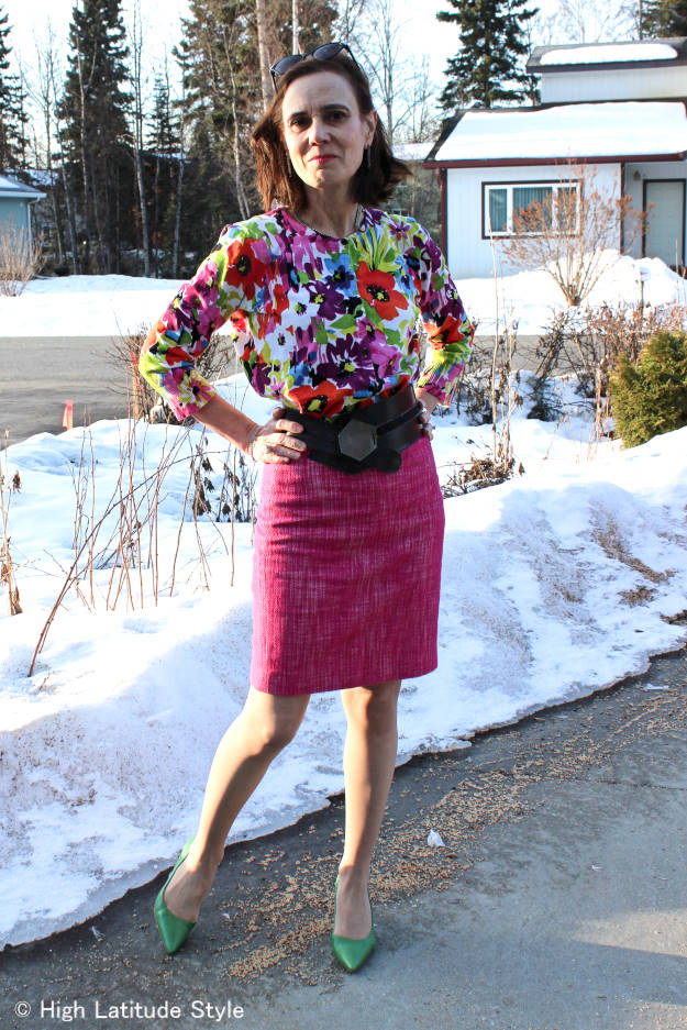 #over50fashion Nicole of High Latitude Style looking posh in a work outfit for spring