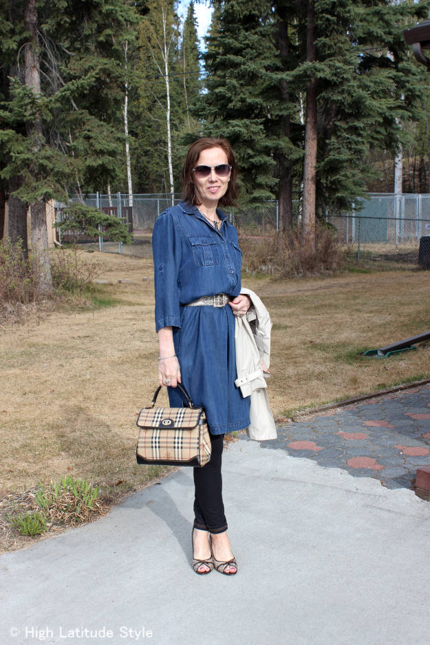 #turningtrendsintostyle mature woman in dress-over-pants trend