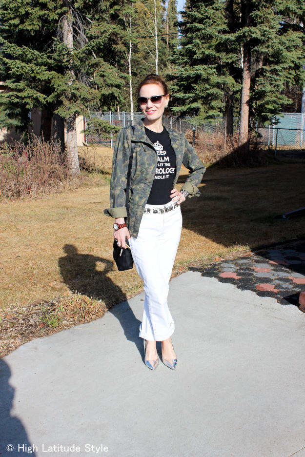 #midlifestyle mature woman looking posh in a Casual Friday outfit with utility jacket