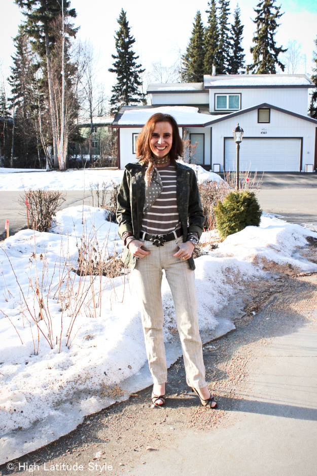 #maturefashion Nicole at High Latitude Style in linen pants, utility jacket, sweater, open-toe pumps spring outfit