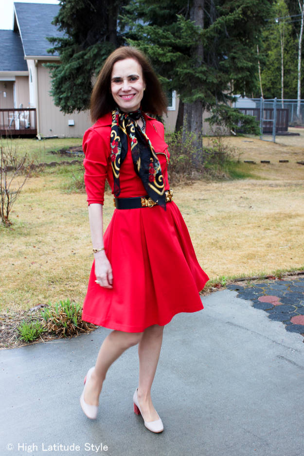 midlife woman in a chic little red dress