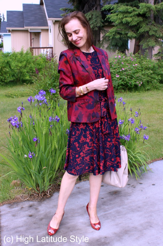 Style over 40 blue and red floral dress with dyed blazer