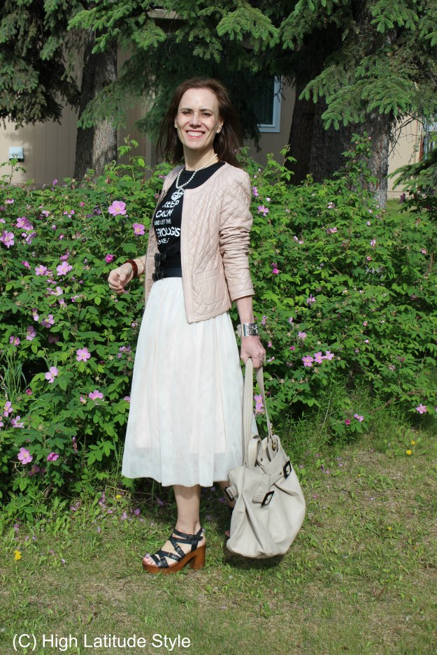mature style blogger in Father's Day outfit for brunch