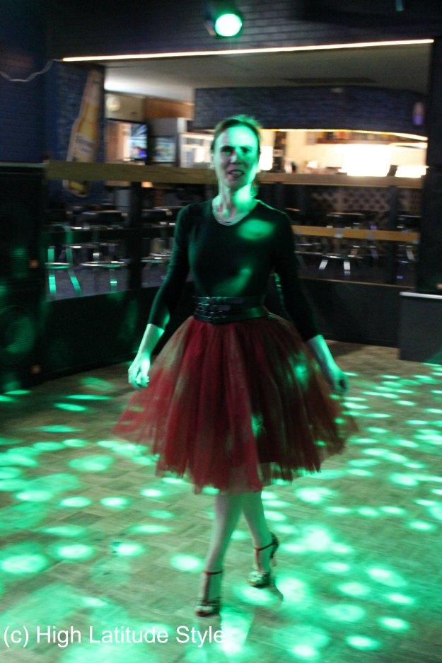 #fashionover50 mature woman dancing the night away