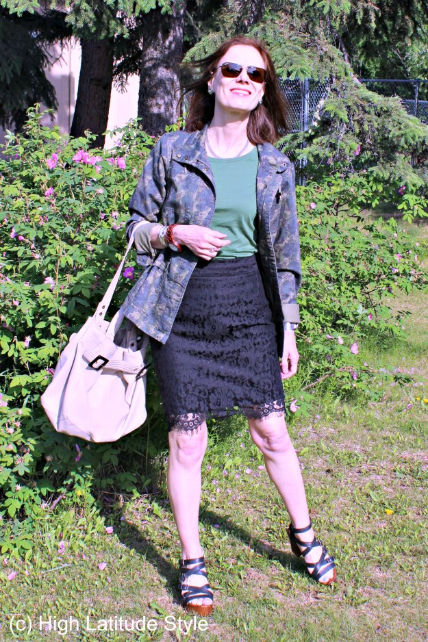 style book author in lace pencil skirt with utility jacket