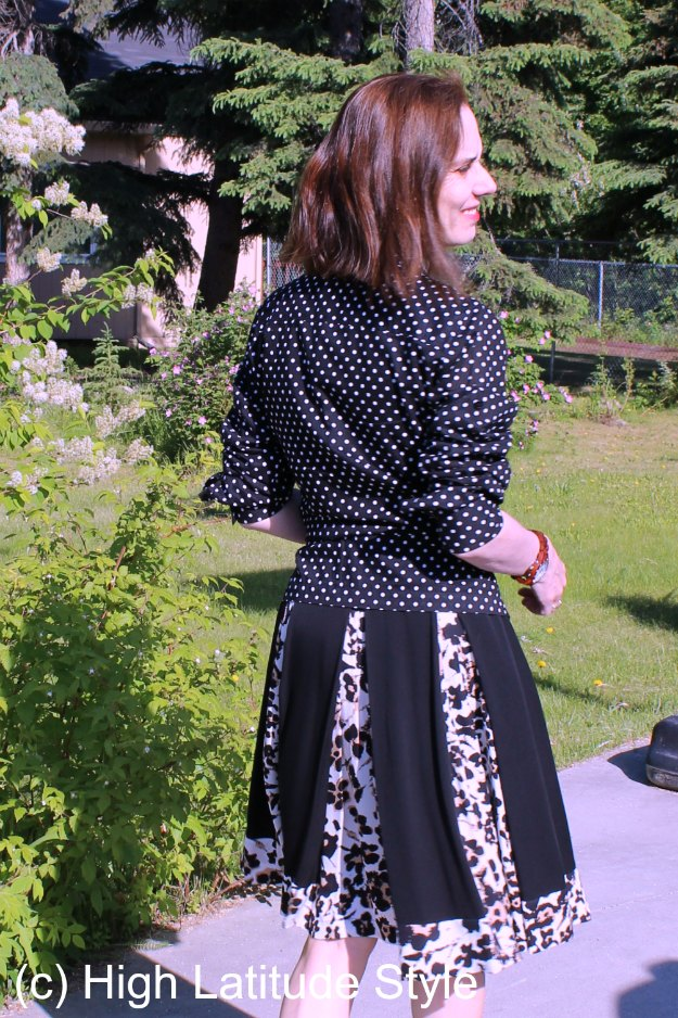 midlife style blogger wearing a dress as skirt