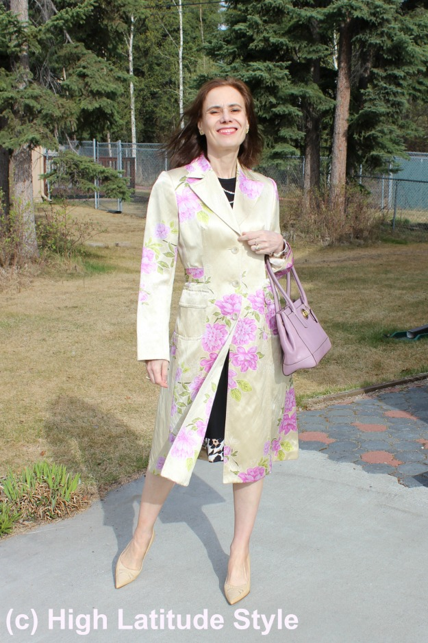 #maturefashion Floral coat in  Recap May