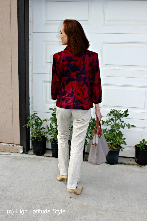 linen pants with floral blazer for work
