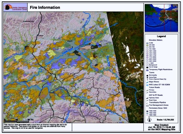 wildfires in Interior Alaska since 1939