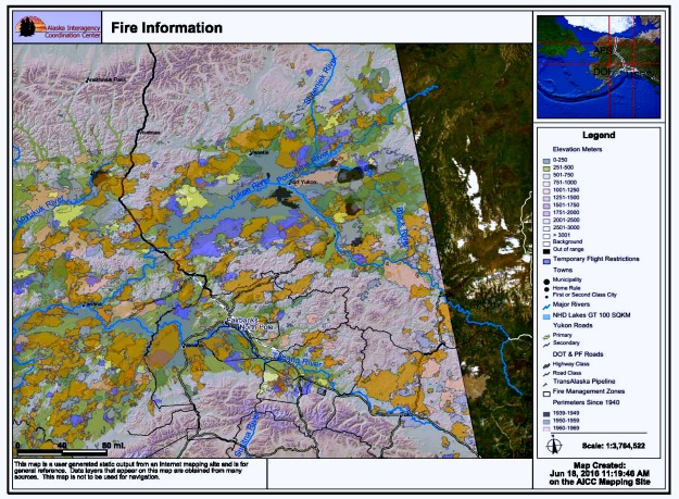 Areas burned by wildfires in Interior Alaska since 1939