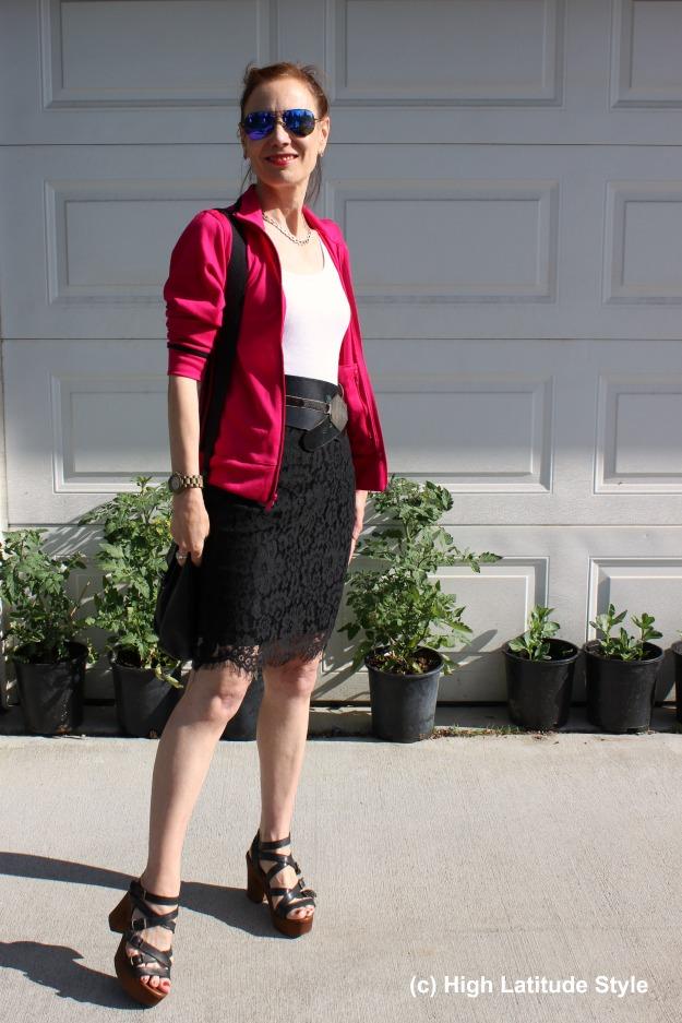 #fashionover50 mature blogger wearing an Adidas jacket