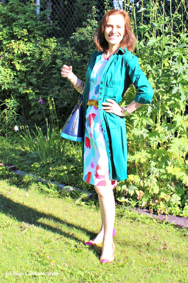 #midlifestyle woman in shirt dress over sheath