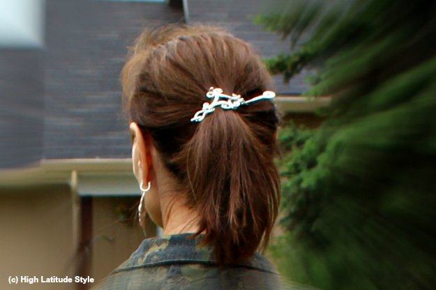 #hairover40 mature woman with high ponytail hold by a barrette