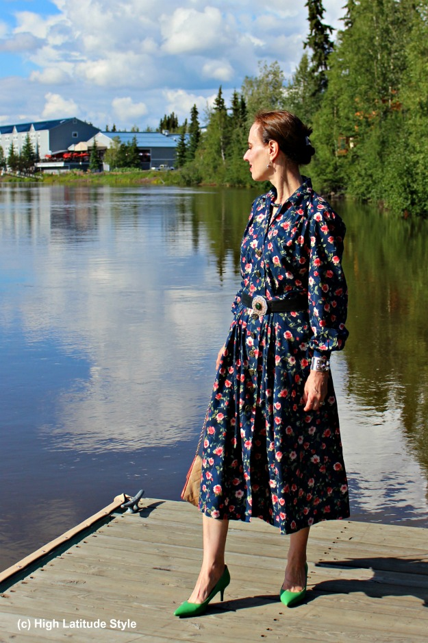 #styleover50 woman in floral shirt dress at the river