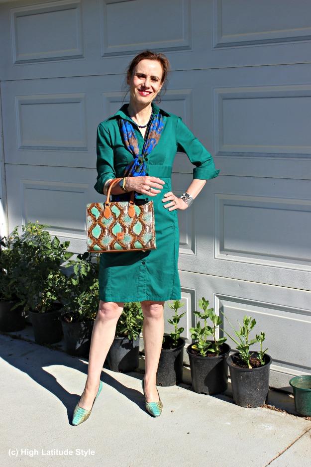 #fashionover40 mature woman in teal shirt dress