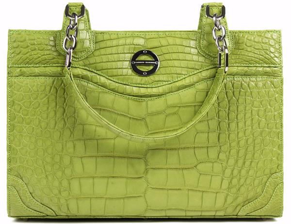 Farbod Barsum Nicole lime green alligator work tote