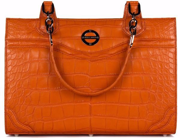 Farbod Barsum Nicole tangerine alligator bag/work tote