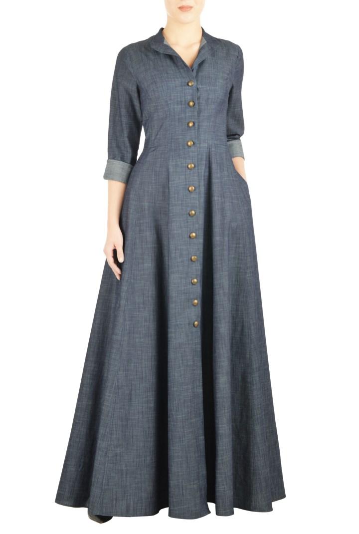 chambray maxi shirt dress
