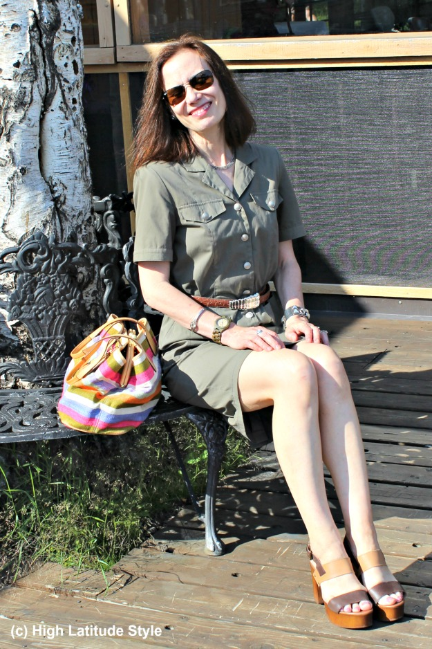 over 50 years old fashion blogger in olive summer shirt dress with belt