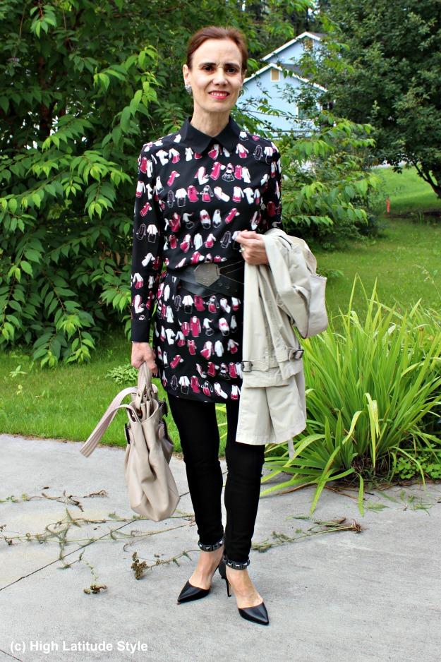 #fashionover50 woman with No nonsense leggings and a silk print dress
