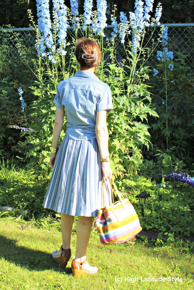 #fashionover50 mature summer look with gingham shirt and stripe skirt