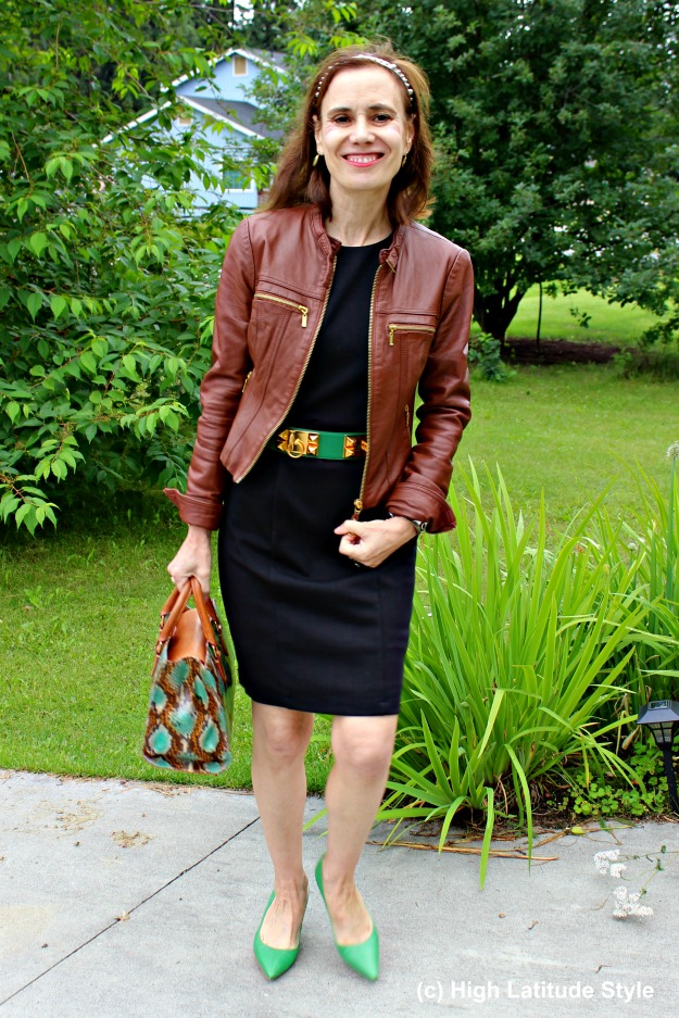 #fashionover50 LBD with motorcycle jacket