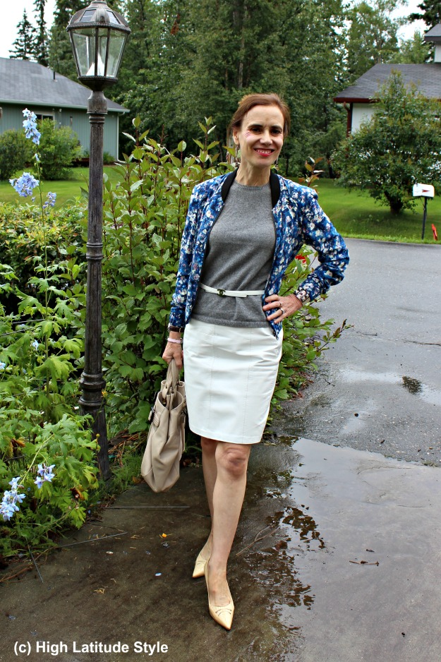 #fashionover50 mature woman in casual office outfit with leather skirt