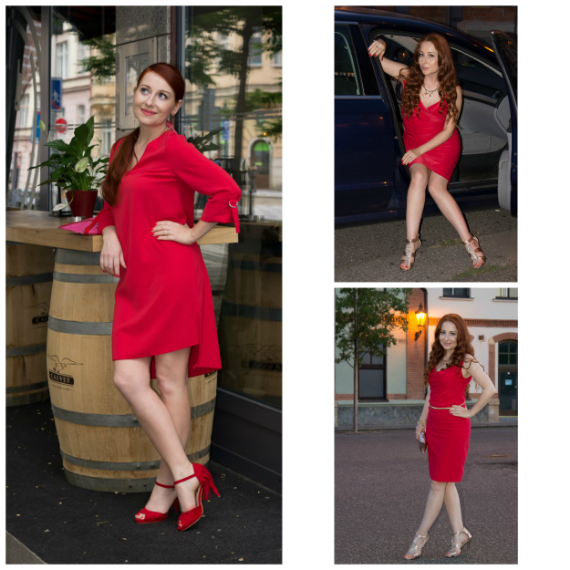 #redhead Martina of Elegant 40 wearing red dresses