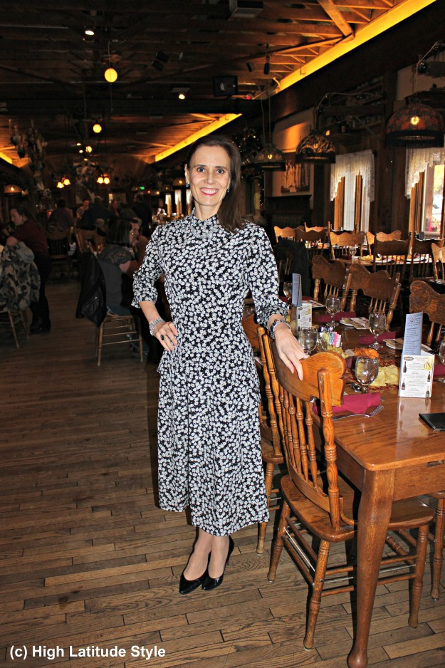 #fashionover50 mature woman in 40s style dress